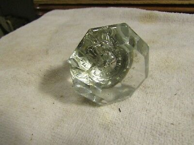 """Antique Victorian 8 Sided 2.25"""" Glass Knob with Brass Housing and Shaft"""