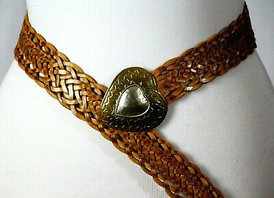 Morocco Tan Brown Genuine Leather Braided Brass Buckle Casual Boho Belt S/M (I24