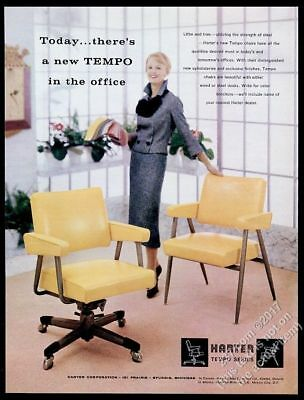 1958 Harter Tempo modern yellow office chair 2 designs photo vintage print ad