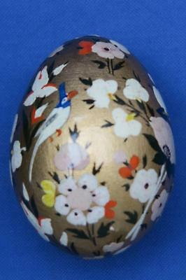 HAND PAINTED EGG Bird & Flowers on Gold BAckground LACQUERED