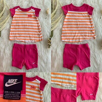 86a5c50237fff Nike Baby Girl 18 Months Hot Pink And Orange White Stripe Outfit