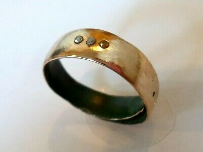 DETECTOR FIND&POLISHED,13-15th CENTURY MEDIEVAL WEDDING RING WITH REAL DIAMONDS.