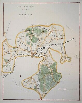 """Kent - A Map Of The Lowy Of Tunbridge For Hasted's """"History Of Kent"""" 1778"""