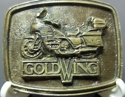 Vintage GoldWing Motorcycle Brass Belt Buckle
