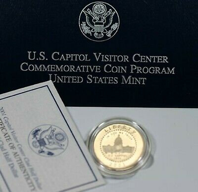 2001 P Proof Unc Capitol Visitor Center Half Dollar 50 Cents Coin Box and COA