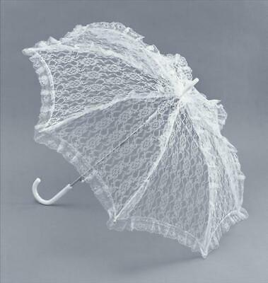 Ladies Fancy Dress White Lace Parasol / Brolly