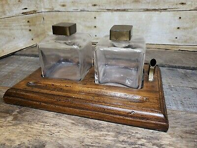 Antique Vintage Sarreid Inkwell Wood Brass w Glass Ink Wells and Lids Italy Made