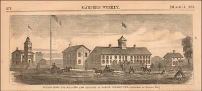 DARIEN, CONNECTICUT, FITCH HOME for SOLDIERS & ORPHANS, antique engraving 1866