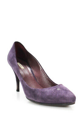 e18ab96a808 MIU MIU Purple Suede Jeweled Heel Peep Toe Pump Shoe Sz 37 1/2 Us ...