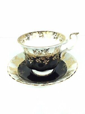 Royal Albert Regal Series Black and Gold Footed Cup and Saucer Set Bone China