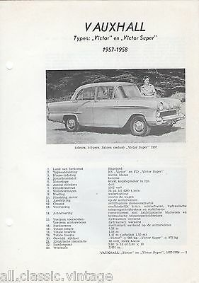 Repair/Manual/Technical Info VAUXHALL - Victor/Victor Super 1957-1958