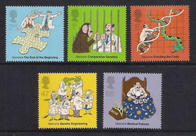 Mint Gb 2003 50 Years Of Dna Genetics Complete Stamp Set Of 5 Muh