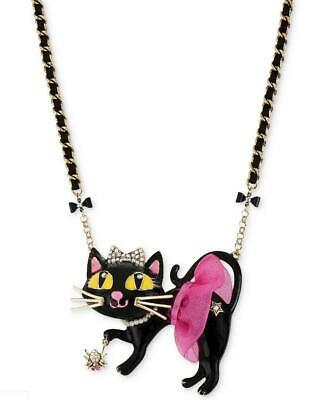 NEW! Betsey Johnson BLACK KITTY CAT in Pink TUTU with SPIDER Statement Necklace!