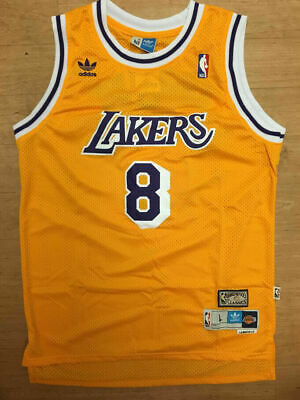 Kobe Bryant #8 Los Angeles Lakers Vintage Yellow Throwback Stitched Jersey Mens