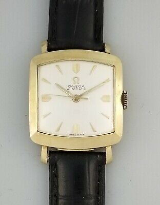 Rare Vintage Omega 470 Automatic Mens Watch – Ref 6271 – 14K Gold F Cushion Case