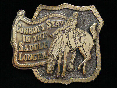 Oe05110 Nos Vintage 1980 Cowboys Stay In The Saddle Longer Funny Buckle