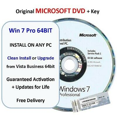 Win 7 PRO 64bit on ORIGINAL MICROSOFT DVD - Clean install or Upgrade Vista Busin