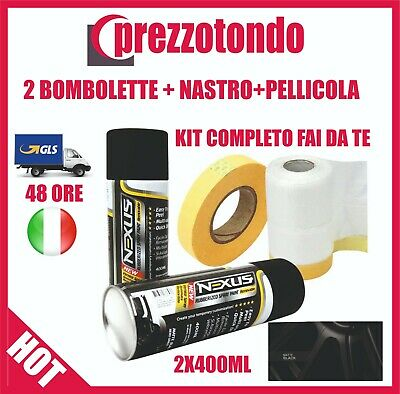 2 Bombolette Spray 400Ml +Nastro+Pellicola Vernice Rimovibile Wrapper Nero Opaco