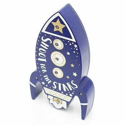 Children's Wooden Rocket Ship LED Bedroom Table Light
