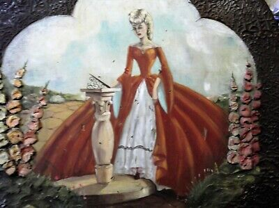 Vintage Wooden Fire Screen With Handpainted Crinoline Lady + Raised Flowers
