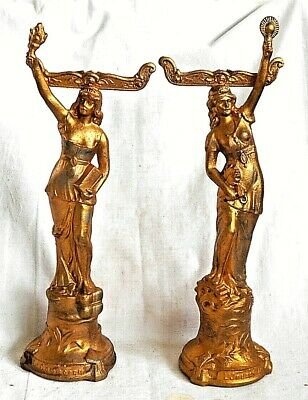 Pair Victorian French Gilded Spelter Figures Of Le Commerce And L'industrie