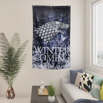 Game Of Thrones Winter Is Coming Stark Direwolf Flag 29''x49'' free shipping