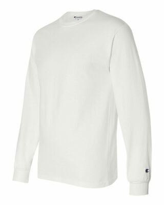 Champion Long Sleeve Shirt Mens Adult Size Cotton Tee Athletic New White CC8C