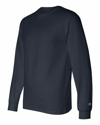 Champion Long Sleeve Shirt Mens Adult Size Cotton Tee Athletic New Navy CC8C