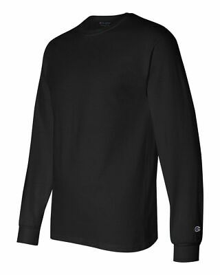 Champion Long Sleeve Shirt Mens Adult Size Cotton Tee Athletic New Black CC8C