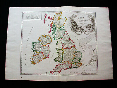 "1757 VAUGONDY -""Big Folio Map"": UNITED KINGDOM, UK, LONDON SCOTLAND ENGLAND YORK"