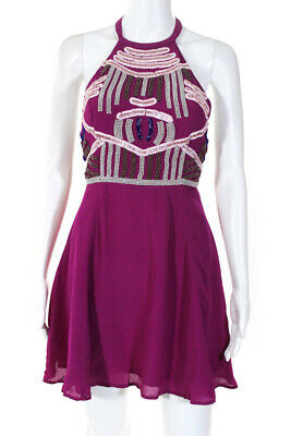 NBD X The Naven Twins Womens Halter Fit and Flare Dress Purple Beaded Size Small