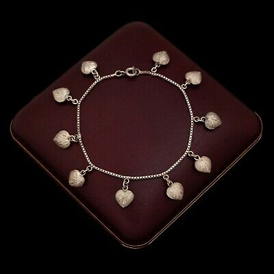 Antique Vintage Deco Retro Sterling Silver Sweetheart Puffy Heart Charm Bracelet