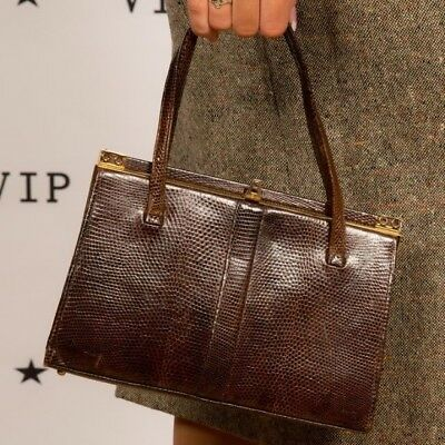 60s vintage brown lizardskin leather kelly style handbag by Riviera