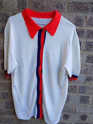50s 60s 70s vintage Red Blue and White short sleeved button down top MOD/SCOOTER