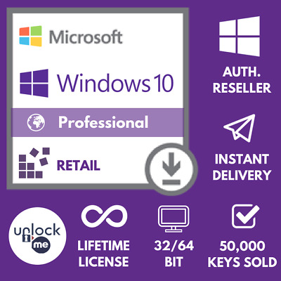 Microsoft Windows 10 Pro Professional 32/64-bit Genuine License Key Product Key
