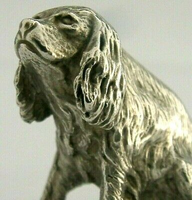 GOOD SIZE 85g CAST SOLID SILVER MINIATURE KING CHARLES SPANIEL DOG FIGURE 1997