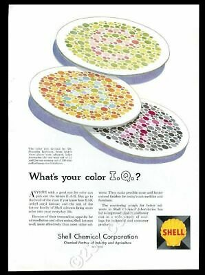 1958 color blind blindness test Ishihara 3 patterns Shell Chemical print ad