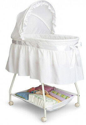 Classic Bassinet Infant Baby Nursery White Adjustable Canopy Bed Portable New