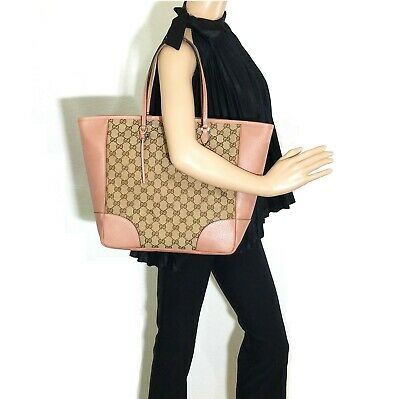 0625118b0a5 Gucci Bree Original GG Canvas Tote in Pink  Made in Italy 100% Authentic