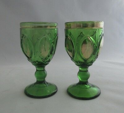"2 Antique EAPG Gilded Emerald Green Glass 4"" Cordial Stem Glasses"