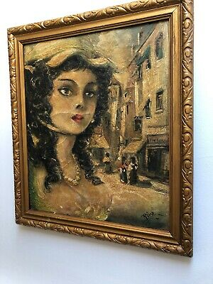 Early 20th Century Oil On Canvas - Unusual Spanish/Italian Lady Portrait