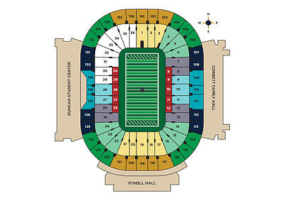 2 Notre Dame vs Bowling Green Tickets / Section 19 / Aisle seats /Row20-40