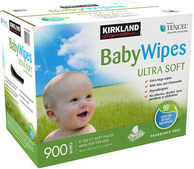 Bulk 900 count Box Baby Wipes, XL Size Ultra Soft w/ Aloe Chamomile Hypoallergic