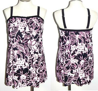 26 Swimsuits For All Swim 365 One Piece Black/Pink Floral Padded Bra Swimdress