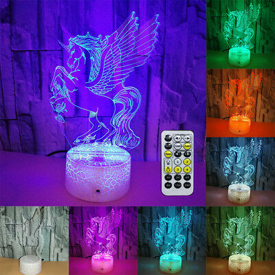 Excellent 3D Unicorn Lamp Desk Night Light Remote TOUCH CONTROL Christmas Gift