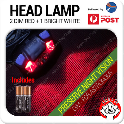 Red Light LED Astronomy Headlamp for Night Vision with Batteries Included