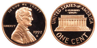 1992 S GEM BU PROOF Lincoln MemoriaL BRILLIANT UNCIRCULATED PENNY US COIN PF