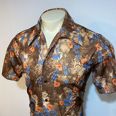 Vtg 60s 70s JCPENNEY Mens LARGE Groovy Mod Polyester DISCO Shirt Boogie Nights L