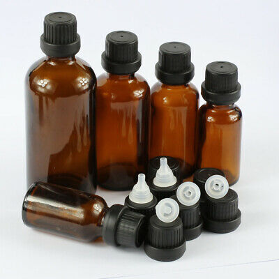 5~100ML Amber Glass Thick with Cap Dropper Essential Oil Bottles Jars