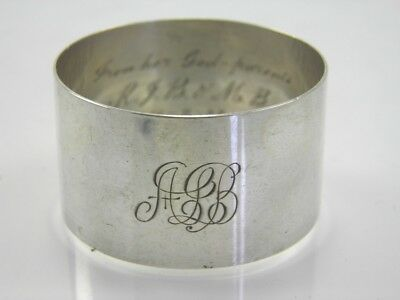 Serviette napkin ring antique .925 sterling silver W H Haseler Birmingham 1922